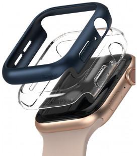 """Mėlynas ir skaidrus dėklai Apple Watch 4/5/6/SE (44mm) laikrodžiui """"Ringke Slim 2-Pack"""""""