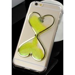 """Geltonas silikoninis dėklas Apple iPhone 5/5s/SE telefonui """"Liquid Heart"""""""
