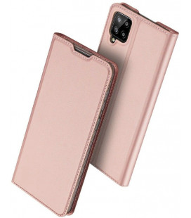 """Rausvai auksinės spalvos atverčiamas dėklas Samsung Galaxy A12 2020 / 2021 telefonui """"Dux Ducis Skin Pro"""""""