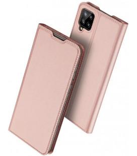 """Rausvai auksinės spalvos atverčiamas dėklas Samsung Galaxy A12 telefonui """"Dux Ducis Skin Pro"""""""