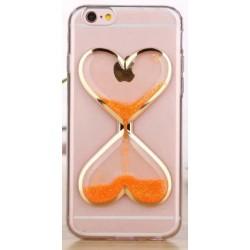 """Oranžinis silikoninis dėklas Apple iPhone 5/5s/SE telefonui """"Liquid Heart"""""""