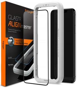 """Juodas apsauginis grūdintas stiklas Apple iPhone 11 telefonui """"Spigen AlignMaster Glas tR"""""""