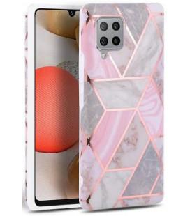 """Rožinis dėklas su marmuro efektu Samsung Galaxy A42 5G telefonui """"Tech-Protect Marble"""""""