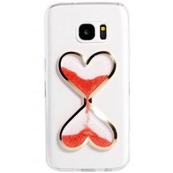 """Raudonas silikoninis dėklas Samsung Galaxy S7 G930F telefonui """"Liquid Heart"""""""
