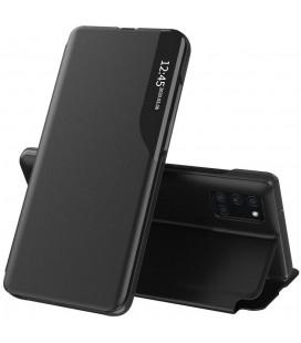 """Juodas atverčiamas dėklas Samsung Galaxy A12 2020 / 2021 telefonui """"Tech-protect Smart View"""""""