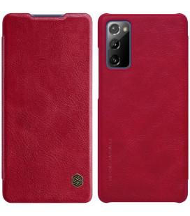 """Odinis raudonas atverčiamas dėklas Samsung Galaxy S20 FE telefonui """"Nillkin Qin"""""""
