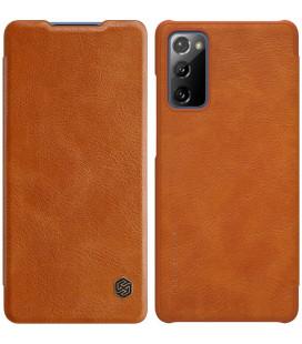 """Odinis rudas atverčiamas dėklas Samsung Galaxy S20 FE telefonui """"Nillkin Qin"""""""