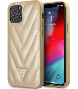"Auksinės spalvos dėklas Apple iPhone 12 Pro Max telefonui ""GUHCP12LPUVQTMLBE Guess V Quilted Cover"""