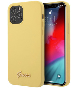 "Geltonas dėklas Apple iPhone 12 Pro Max telefonui ""GUHCP12LPUVQTMLBE Guess V Quilted Cover"""