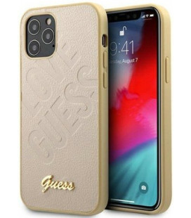 """Auksinės spalvos dėklas Apple iPhone 12 Pro Max telefonui """"GUHCP12LPUILGLG Guess Iridescent Love Cover"""""""