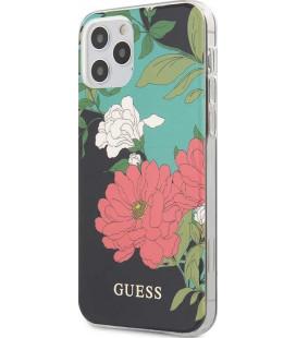 "Juodas dėklas Apple iPhone 12 Pro Max telefonui ""GUHCP12LIMLFL01 Guess PC/TPU Flower N.1 Cover"""