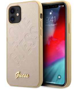 "Auksinės spalvos dėklas Apple iPhone 12 Mini telefonui ""GUHCP12SPUILGLG Guess Iridescent Love Cover"""