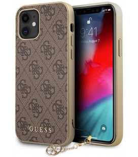 "Rudas dėklas Apple iPhone 12 Mini telefonui ""GUHCP12SGF4GBR Guess 4G Charms Cover"""