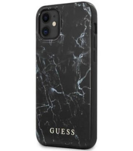 "Juodas dėklas Apple iPhone 12 Mini telefonui ""GUHCP12SPCUMABK Guess PC/TPU Marble Cover"""