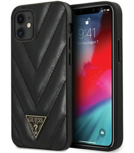 "Juodas dėklas Apple iPhone 12 Mini telefonui ""GUHCP12SPUVQTMLBK Guess V Quilted Cover"""