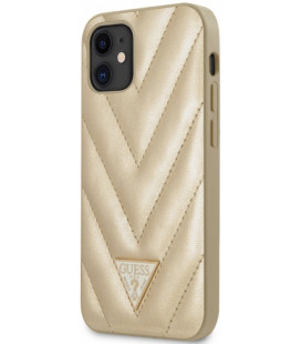 "Auksinės spalvos dėklas Apple iPhone 12 Mini telefonui ""GUHCP12SPUVQTMLBE Guess V Quilted Cover"""