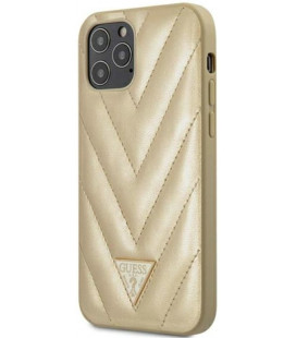 "Auksinės spalvos dėklas Apple iPhone 12/12 Pro telefonui ""GUHCP12MPUVQTMLBE Guess V Quilted Cover"""