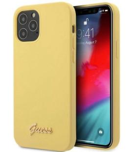"Geltonas dėklas Apple iPhone 12/12 Pro telefonui ""GUHCP12MLSLMGYE Guess Silicone Metal Logo Script Cover"""