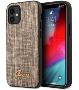 """Auksinės spalvos dėklas Apple iPhone 12 Mini telefonui """"GUHCP12SPCUMLLIGO Guess Lizard Cover"""""""
