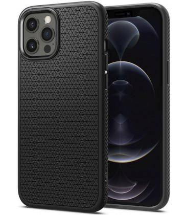 "Juodas dėklas Apple iPhone 12 Pro Max telefonui ""Spigen Liquid Air"""