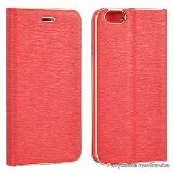 """Raudonas atverčiamas dėklas su rėmeliu Samsung Galaxy S7 G930F telefonui """"Book Vennus Z"""""""