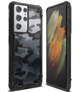 """Juodas (Camo) dėklas Samsung Galaxy S21 Ultra telefonui """"Ringke Fusion X"""""""