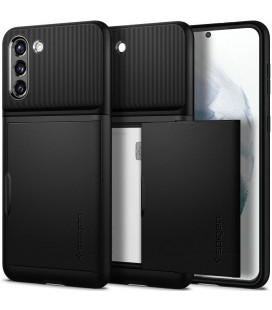 "Juodas dėklas Samsung Galaxy S21 telefonui ""Spigen Slim Armor CS"""