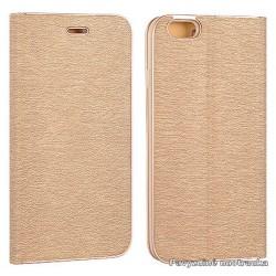 """Auksinės spalvos atverčiamas dėklas su rėmeliu Apple iPhone 7 telefonui """"Book Vennus Z"""""""