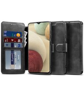 """Juodas atverčiamas dėklas Samsung Galaxy A12 telefonui """"Tech-protect Wallet"""""""