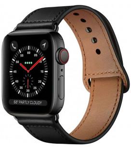 """Juoda apyrankė Apple Watch 4 / 5 / 6 / 7 / SE (42 / 44 / 45 mm) laikrodžiui """"Tech-Protect Leatherfit"""""""