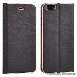 """Juodas atverčiamas dėklas su rėmeliu Huawei P9 Lite telefonui """"Book Vennus Z"""""""