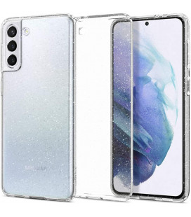 "Skaidrus dėklas su blizgučiais Samsung Galaxy S21 telefonui ""Spigen Liquid Crystal Glitter"""