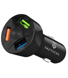"Juodas automobilinis telefonų kroviklis 3xUSB-A QC 3.0 7A ""Tactical APD-369"""