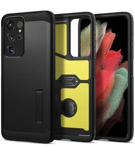 "Juodas dėklas Samsung Galaxy S21 Ultra telefonui ""Spigen Tough Armor"""