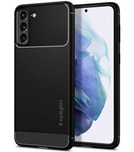 """Juodas dėklas Samsung Galaxy S21 telefonui """"Spigen Rugged Armor"""""""