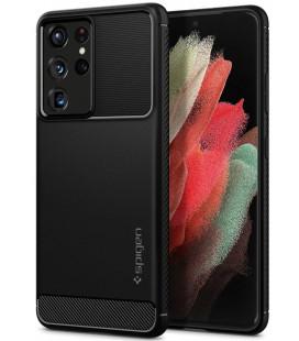"Juodas dėklas Samsung Galaxy S21 Ultra telefonui ""Spigen Rugged Armor"""