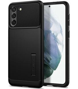 """Juodas dėklas Samsung Galaxy S21 telefonui """"Spigen Slim Armor"""""""