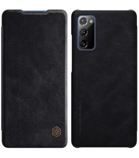"""Odinis juodas atverčiamas dėklas Samsung Galaxy S20 FE telefonui """"Nillkin Qin"""""""