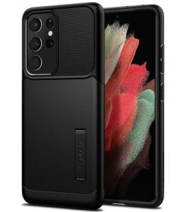 "Juodas dėklas Samsung Galaxy S21 Ultra telefonui ""Spigen Slim Armor"""