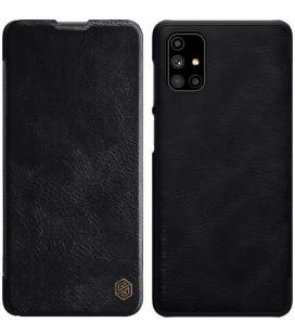 """Odinis juodas atverčiamas dėklas Samsung Galaxy M51 telefonui """"Nillkin Qin"""""""