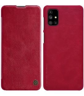 """Odinis raudonas atverčiamas dėklas Samsung Galaxy M51 telefonui """"Nillkin Qin"""""""