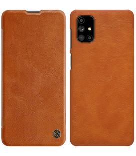 """Odinis rudas atverčiamas dėklas Samsung Galaxy M51 telefonui """"Nillkin Qin"""""""