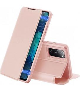 """Rožinis atverčiamas dėklas Samsung Galaxy S20 FE telefonui """"Dux Ducis Skin X"""""""