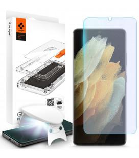 """Skaidrus apsauginis grūdintas stiklas Samsung Galaxy S21 Ultra telefonui """"Spigen Glas.TR Platinum"""""""