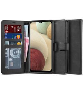 """Juodas atverčiamas dėklas Samsung Galaxy A12 2020 / 2021 telefonui """"Tech-protect Wallet 2"""""""