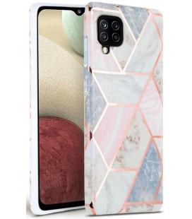 """Rožinis dėklas su marmuro efektu Samsung Galaxy A12 telefonui """"Tech-Protect Marble"""""""