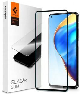 """Juodas apsauginis grūdintas stiklas Xiaomi Mi 10T/10T Pro telefonui """"Spigen Glas.TR Slim"""""""