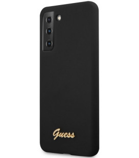 "Juodas dėklas Samsung Galaxy S21 telefonui ""GUHCS21SLSLMGBK Guess Silicone Metal Logo Script Cover"""