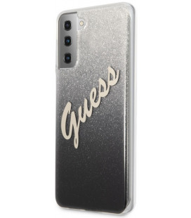 "Juodas dėklas Samsung Galaxy S21 telefonui ""GUHCS21SPCUGLSBK Guess PC/TPU Vintage Cover"""