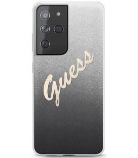 "Juodas dėklas Samsung Galaxy S21 Ultra telefonui ""GUHCS21LPCUGLSBK Guess PC/TPU Vintage Cover"""
